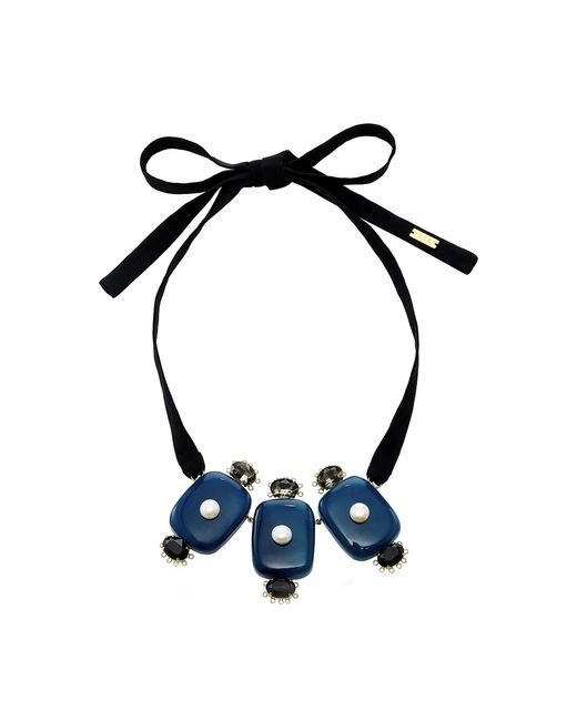 Marni - Blue Resin Ribbon Necklace - Lyst
