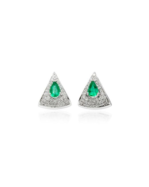 Hueb | Green Spectrum 18k White Gold, Diamond And Emerald Earrings | Lyst