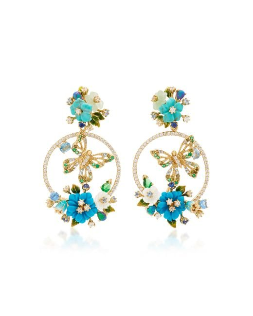 Anabela Chan - Blue Turquoise Butterfly Wreath Earrings - Lyst