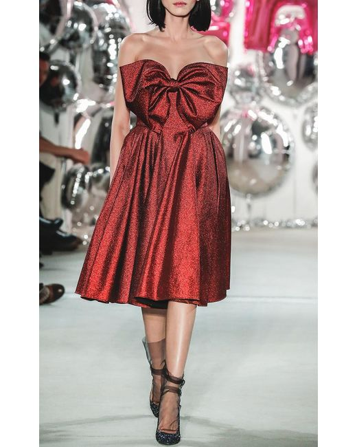 lena hoschek red carpet bow dress in red lyst. Black Bedroom Furniture Sets. Home Design Ideas