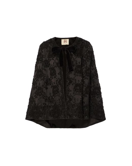 Figue | Black Embroidered Jacqueline Capelet | Lyst