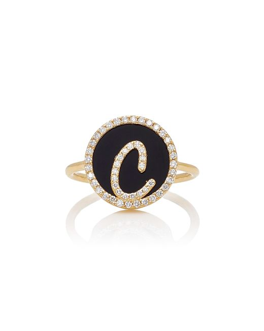 Names by Noush | Black Treasure Disk Roman Initial Ring With Onyx Gemstone | Lyst
