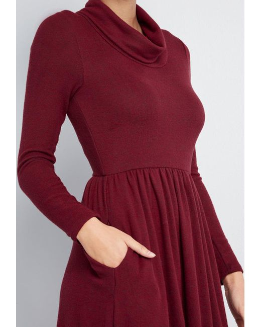 a0b84758e7 ... ModCloth - Red Honoring Hygge Knit Dress - Lyst ...