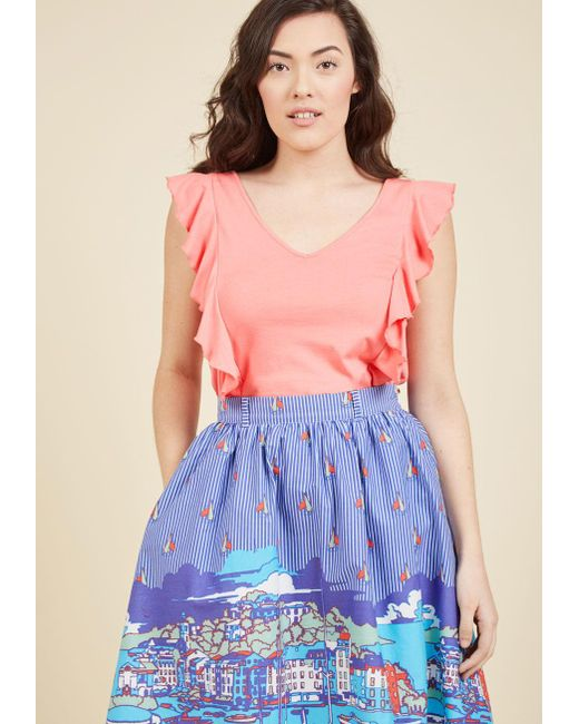 ModCloth   Multicolor Made For Movement Knit Top In Carnation   Lyst
