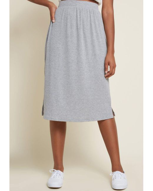 ModCloth - Gray Simplistic Swing Ribbed Knit Skirt - Lyst