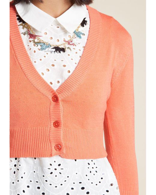 30c273404b ... ModCloth - Red The Dream Of The Crop Cardigan - Lyst ...