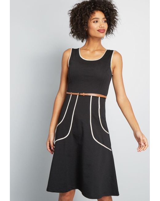 ModCloth - Black Outline Of Work Midi Dress - Lyst