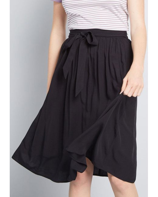 ModCloth Black Stir Things Up Midi Skirt