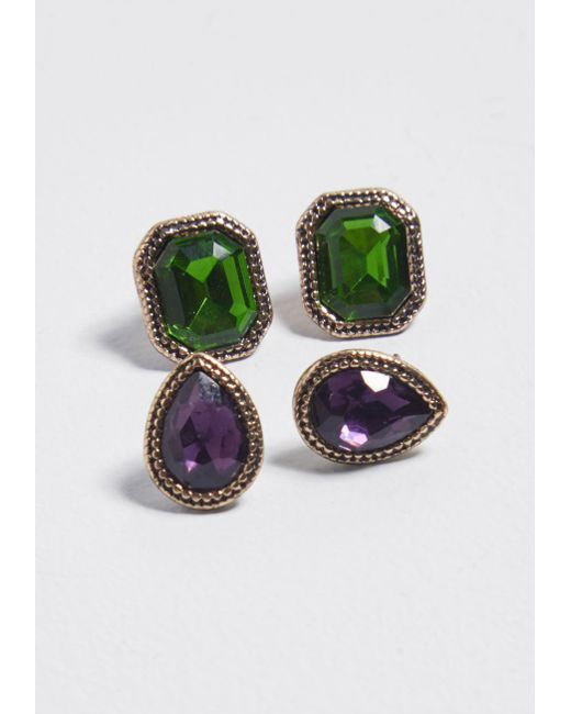ModCloth - Green Let's Get Glam Earring Set - Lyst