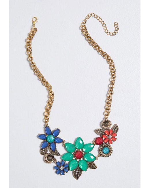 ModCloth - Multicolor Botanical Plans Statement Necklace - Lyst