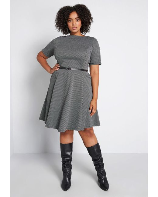 ModCloth Gray Retro Reflections Fit And Flare Dress