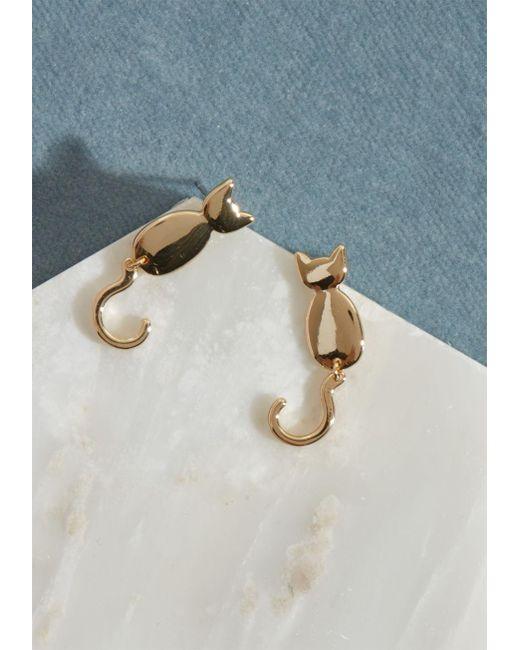 ModCloth - Metallic Kitty Cat Stud Earrings - Lyst