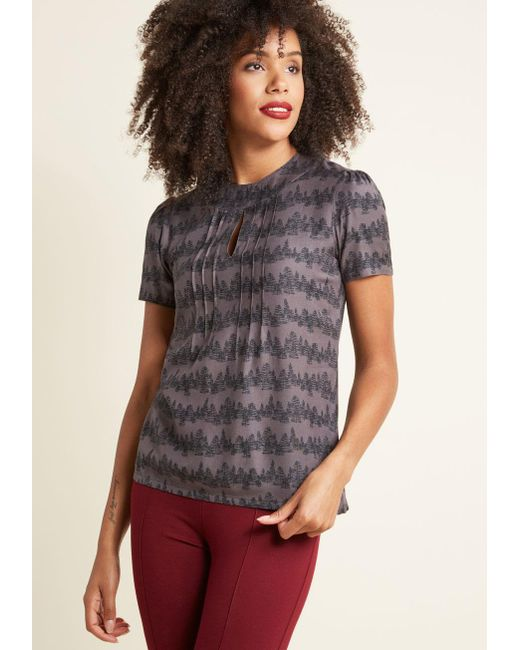 ModCloth | Multicolor Yard Work And Dedication Top In Conifers | Lyst