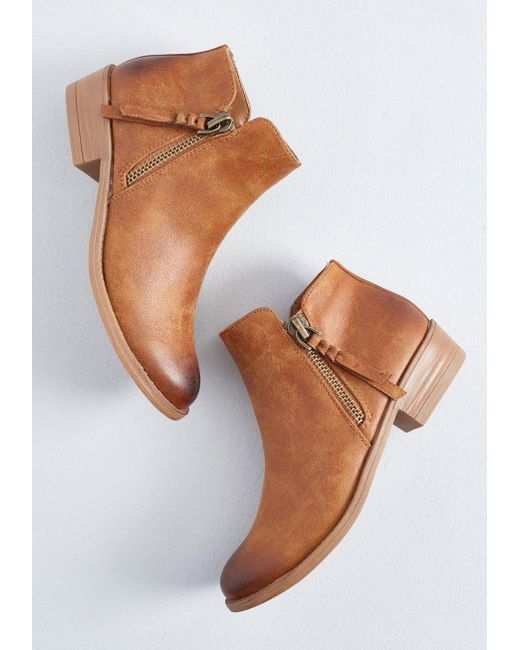 066a248b451a ... ModCloth - Brown Trusted Strut Ankle Bootie - Lyst ...