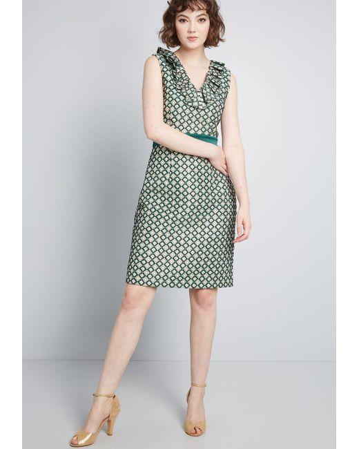c4e80aafdb4fc ... Anna Sui - Green Modcloth X Admiring Eyes Sheath Dress - Lyst ...