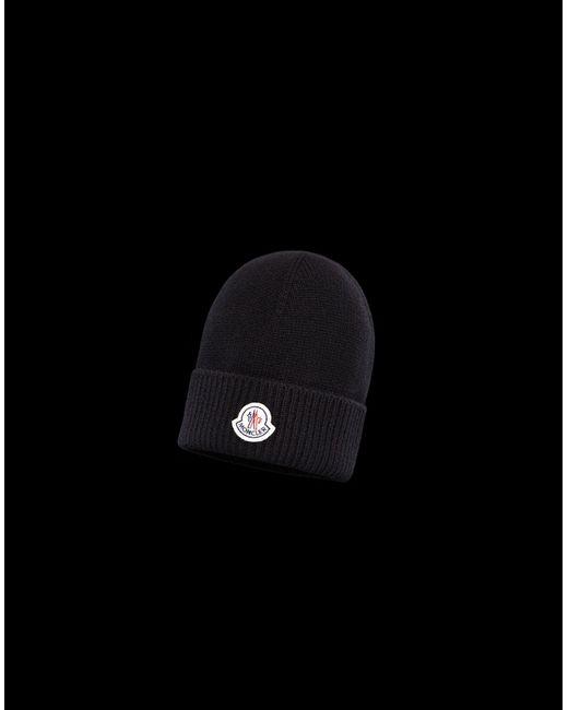 cfab68bcaab Moncler - Black Hat for Men - Lyst ...