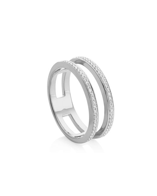 Monica Vinader | Metallic Skinny Double Band Ring | Lyst
