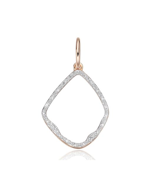 Monica Vinader - Pink Riva Hoop Diamond Pendant Charm - Lyst