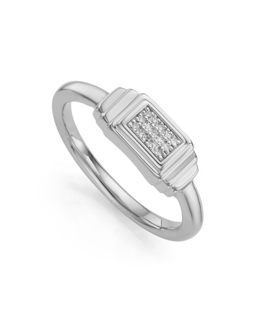 Monica Vinader - Metallic Baja Deco Diamond Ring - Lyst