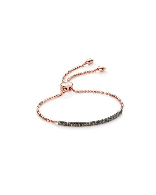 Monica Vinader | Black Stellar Diamond Mini Bar Bracelet | Lyst