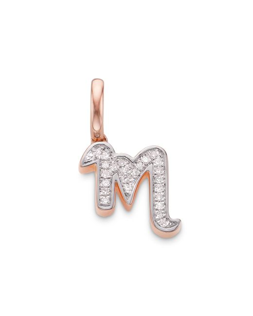 Monica Vinader - Pink Alphabet M Diamond Pendant Charm - Lyst