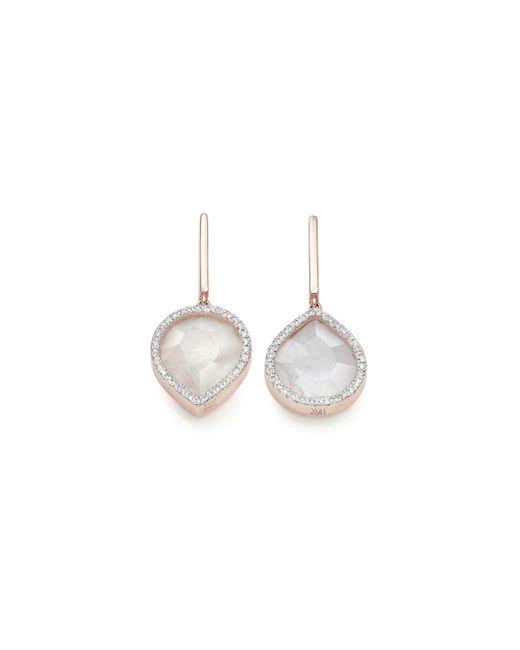 Monica Vinader - Pink Naida Lotus Drop Earrings - Lyst