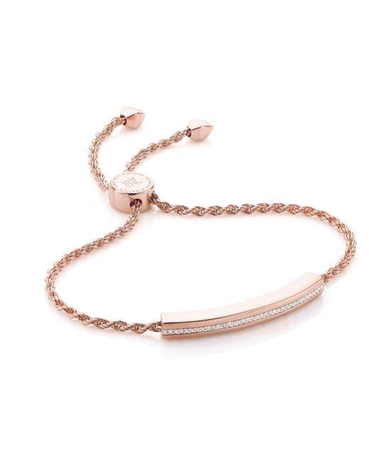 Monica Vinader - Pink Linear Diamond Chain Bracelet - Lyst