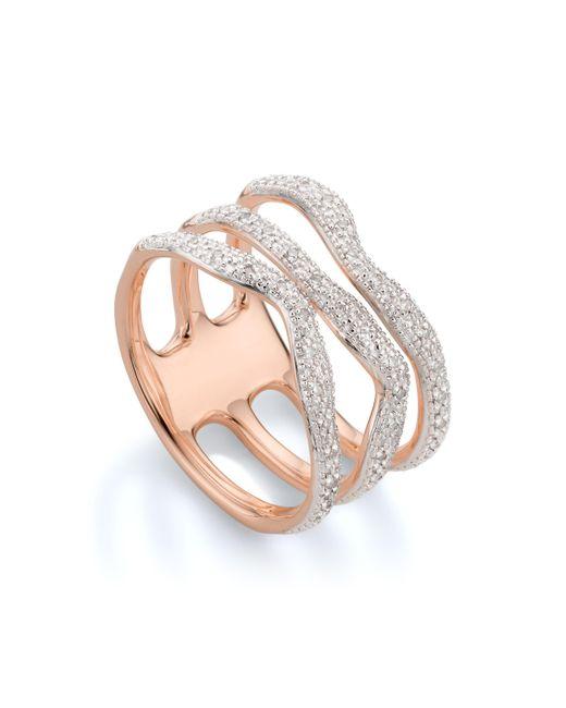 Monica Vinader - Metallic Riva Diamond Wave Triple Ring - Lyst