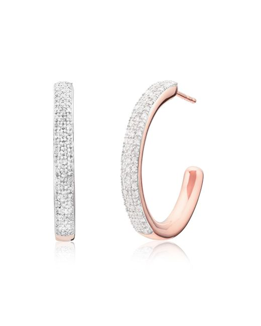 Monica Vinader - Multicolor Fiji Large Hoop Diamond Earrings - Lyst