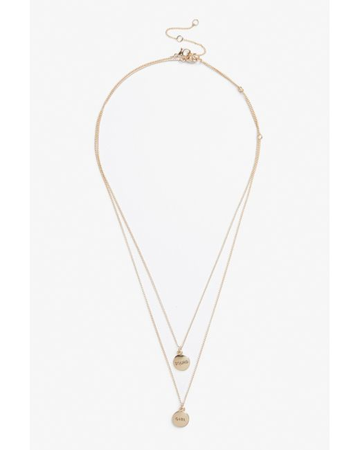 Monki - Metallic Pack Of 2 Bff Necklaces - Lyst