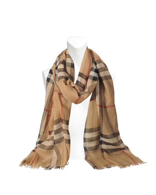Burberry | Natural Giant Check Gauze Scarf 220x70cm | Lyst