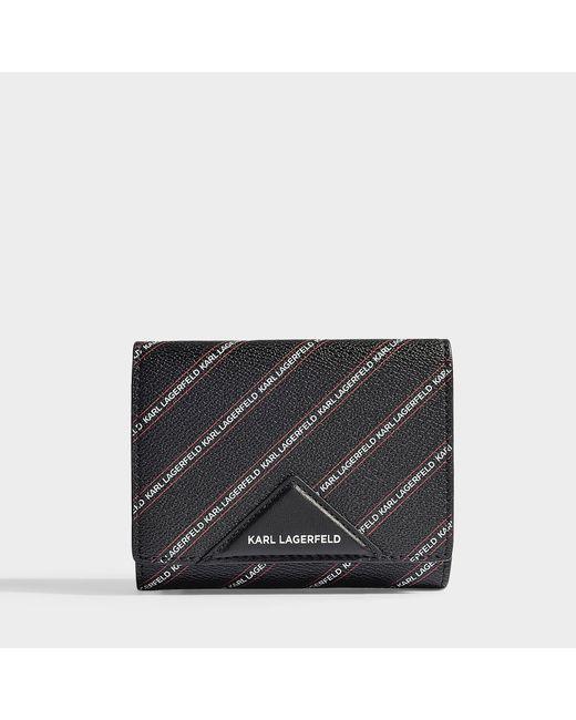 Karl Lagerfeld - K/stripe Logo Medium Wallet In Black Synthetic Material - Lyst