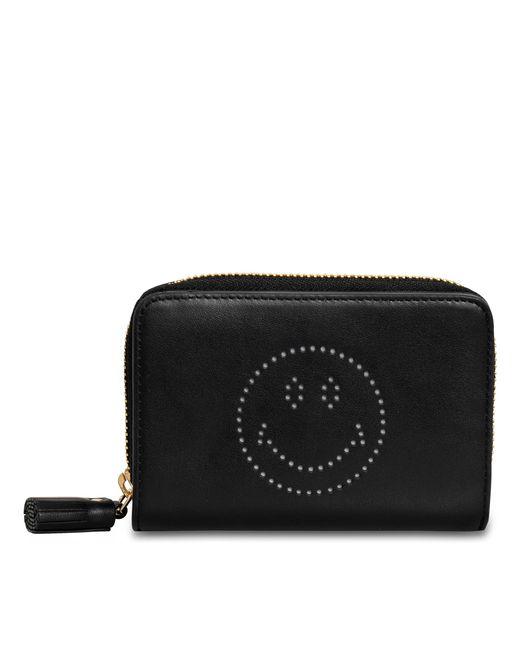 Anya Hindmarch - Black Compact Wallet Smiley In Sugar - Lyst