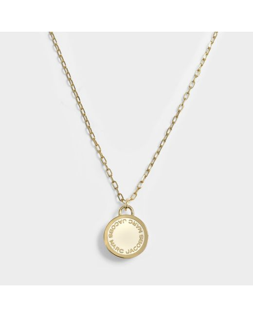 Marc Jacobs - Multicolor Logo Disc Pendant Necklace In Cream Brass - Lyst