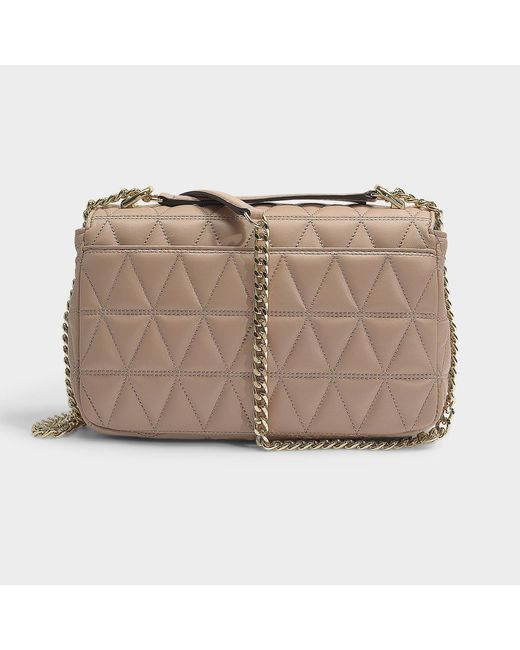 827ff985f962 ... MICHAEL Michael Kors - Natural Sloan Large Chain Shoulder Bag In Truffle  Quilted Lambskin - Lyst ...