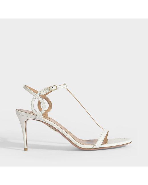 b43b1bf156e81 Aquazzura - Almost Bare 75 Sandals In White Embossed Crocodile Leather -  Lyst ...