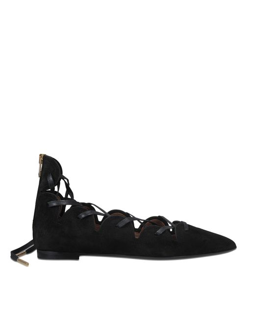 Burberry | Black Hiles Lace Up Ballerina | Lyst