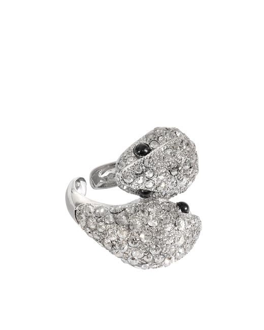 Roberto Cavalli | Metallic Iconic Snake Crystals Ring | Lyst