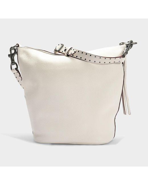 38b2ee4aa2728 ... COACH - White Border Rivets Duffle Bag In Chalk Calfskin - Lyst ...