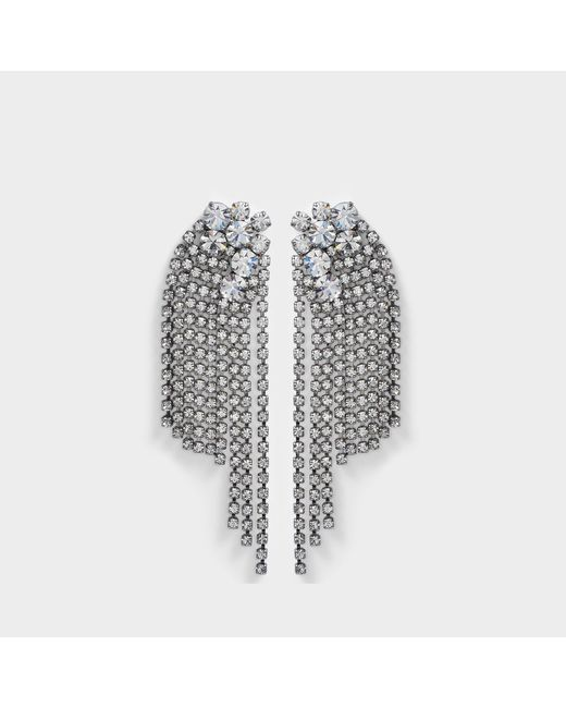 Helene Zubeldia - Multicolor Large Crystals Cascade Clip Earrings In Ruthenium And Crystals - Lyst