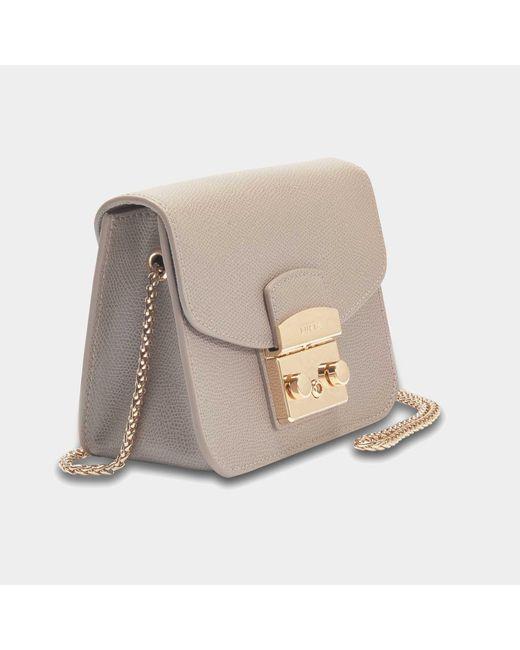 Furla - Gray Mini Metropolis Crossbody Bag In Sand Calfskin - Lyst