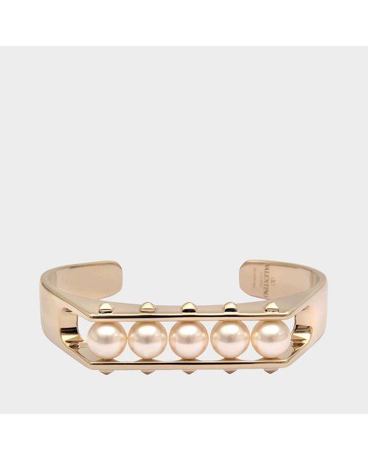 Valentino - Metallic Rockstuds Pearl Bracelet - Lyst