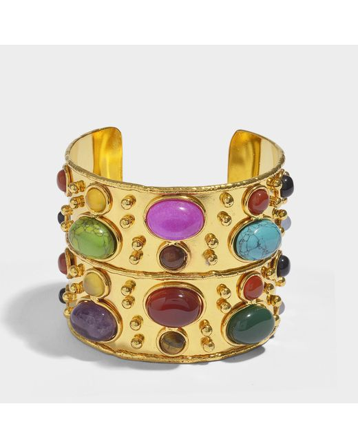 Sylvia Toledano The Third Eye Cuff Bracelet in Gold-Plated Brass with Turquoise and Ametyst rAqik3Lt