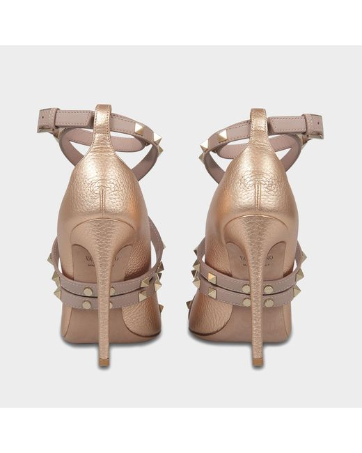 Rockstud Pointed Pumps with Ankle Strap in Copper Metallic Calf Valentino 9AMI1JV