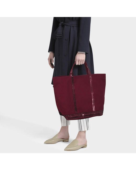 0b91a192d9904b ... Vanessa Bruno - Red Large Cabas Tote Bag In Burgundy Canvas And Sequins  - Lyst ...