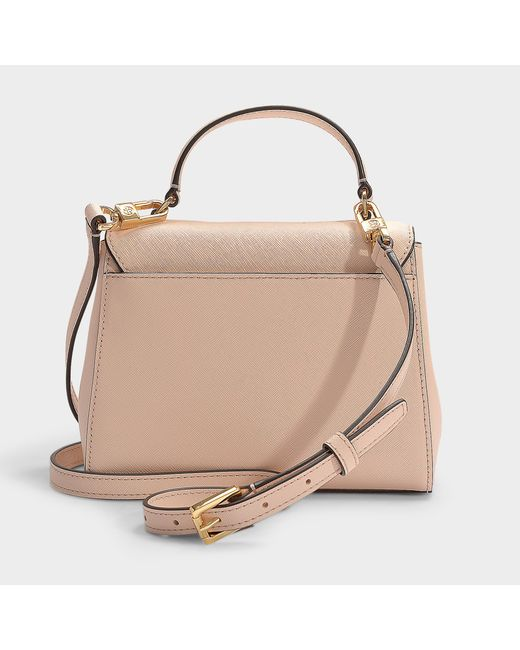 15141db0fc2b ... Tory Burch - Pink Robinson Small Top-handle Satchel In Pale Apricot And  Royal Navy ...
