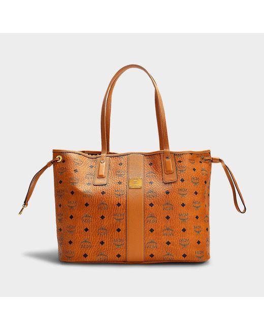 044664c641567 MCM - Brown Liz Project Visetos Reversible Medium Shopper Bag in Cognac  Coated Canvas - Lyst ...
