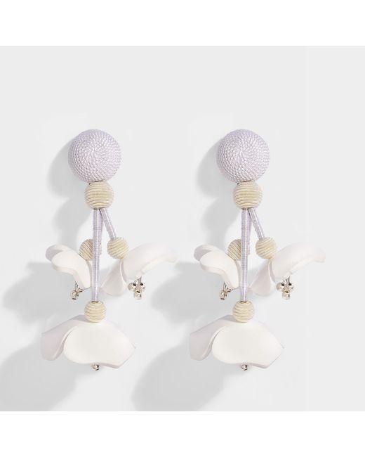 Oscar De La Renta Falling Flower Clip Earrings in Blush Synthetic UtrVf3ae