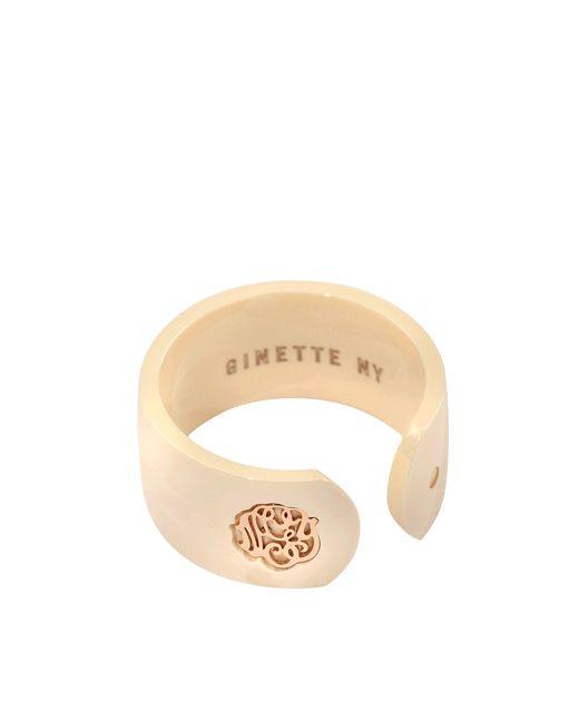 Ginette NY | Metallic Ivory Ceramic Monogram Open Ring | Lyst