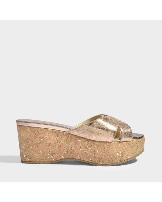 Jimmy Choo - Multicolor Prima Cork Wedge Slides - Lyst